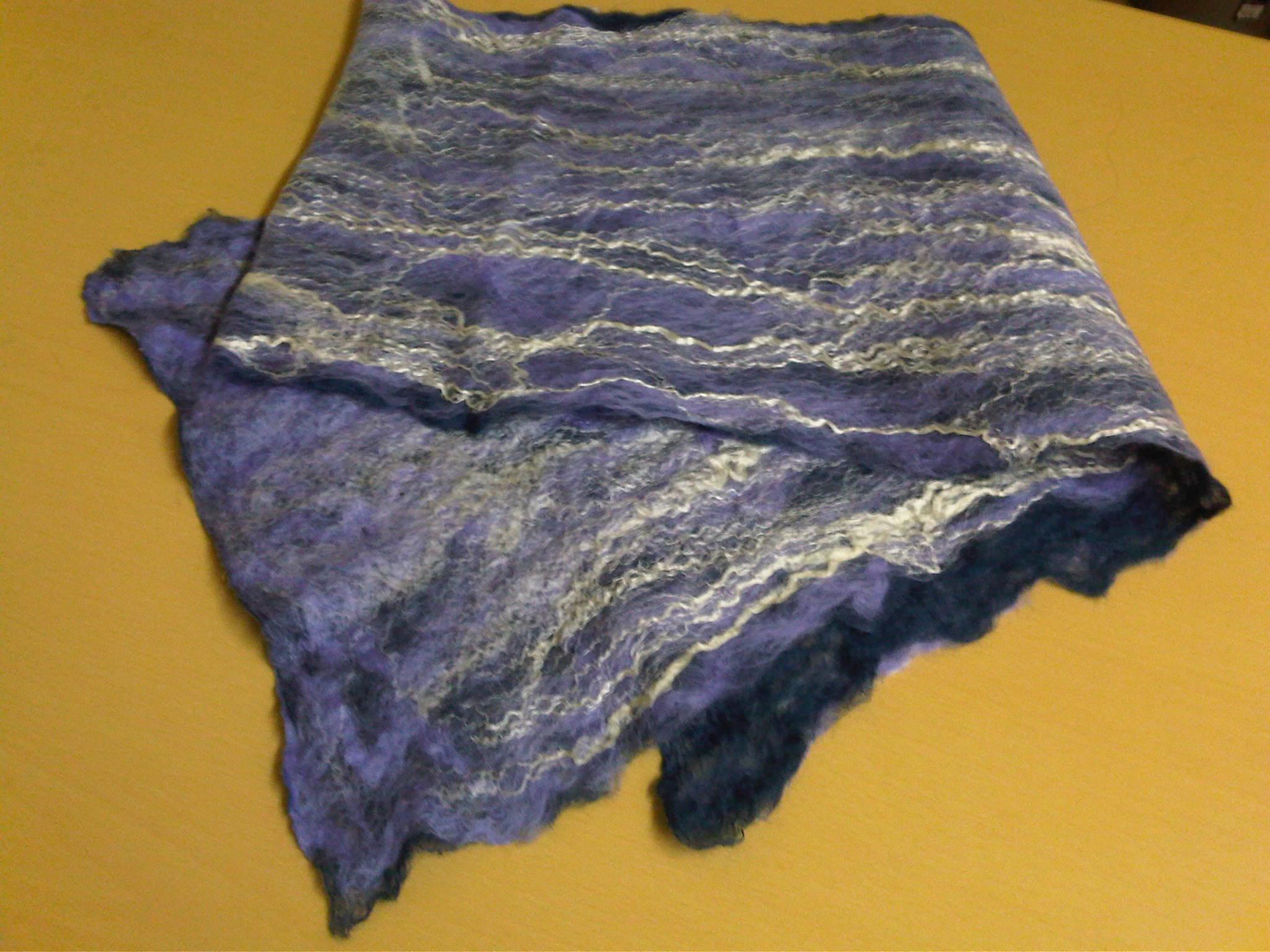 Scarf - french navy/lilac/silk